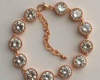 Rose Gold BridalBracelet Rose Gold Cubic Zirconia Bracelet Wedding Rose Gold Clear Crystal Bracelet Rose Gold Bridesmaid Jewelry Rose Gold