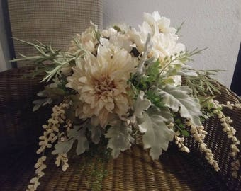 Cream Dahlia, gray greens, texture, Cascade, bouquet, neutral, wedding