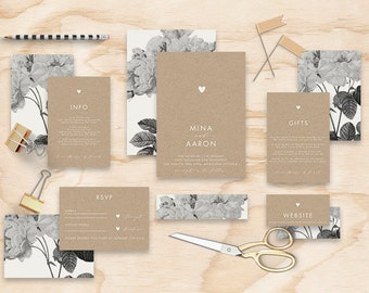 "Printable Wedding Invitation Suite ""Misty"" - Printable DIY Invite, Affordable Wedding Invitation"