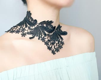large black lace choker bib necklace -  statement necklace - gothic floral beaded gold chain necklacec -  vintage chic fabric jewelry gift