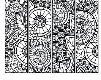 Printable Feathers Coloring Page Bookmarks for Adults PDF