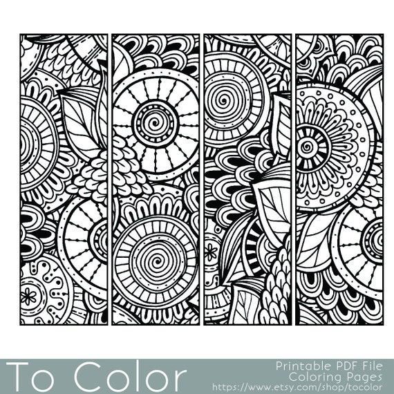 Printable Pattern Coloring Page Bookmarks PDF JPG Instant Download Book Sheet For Grown Ups Adults