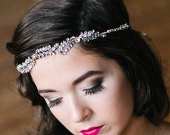 Florence Crystal Rhinestone Leaf Bridal Vine Halo, swarovski, gold, silver plated rhinestones, greek goddess, grecian boho chic, glam, head