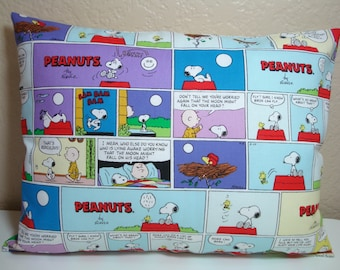 "Travel Pillowcase / 12"" X 16""  Pillow Cover / Colorful PEANUTS Fabric / CHARLIE BROWN & Snoopy Pillowcase / Peanuts Comic Strip Pillowcase"
