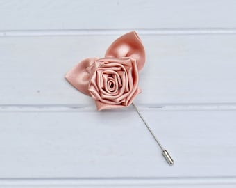 Rose Gold Lapel Pin, Rose Gold Flower Wedding Pin, Rose Gold Wedding, Rose Gold Lapel Pin for Groom & Groomsmen, Wedding Boutonnière