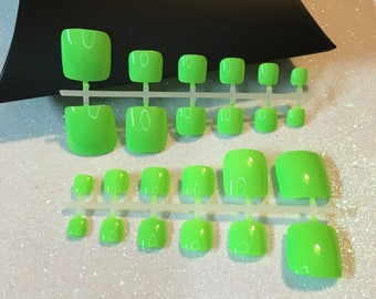 Neon Lime Green Hand Painted Press-On Toe Nails