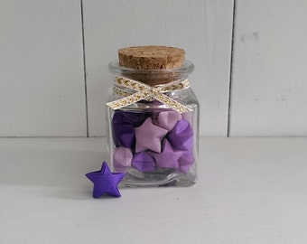 Square Jar of Purple Origami Stars