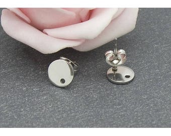 4 holders shape Stud Earrings round BO123 stainless steel