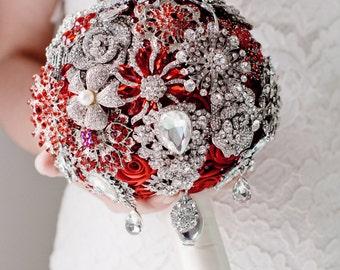 Custom Red Brooch Bouquet - Bridal Bouquet, Wedding Bouquet, Jeweled Bouquet, Silk Flower Bouquet, Fabric Bouquet - 7 inch Bouquet