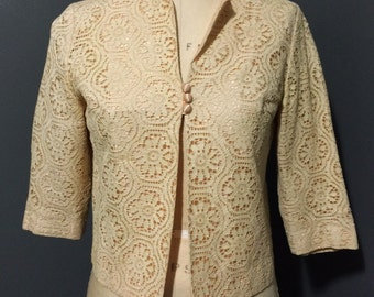 1950s Peach and Cream Lace Jacket