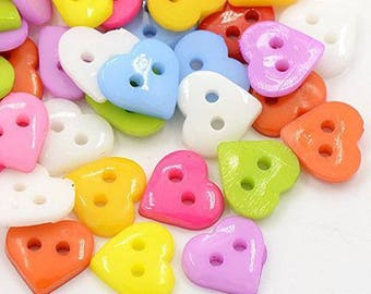Heart buttons 10mm multicolor: set of 25 002096