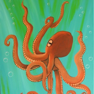 High Quality Octopus Painting Large Octopus Coral Octopus Custom Octopus Realistic Octopus  Octopus Art Beach Decor Coastal Decor Awesome Ideas