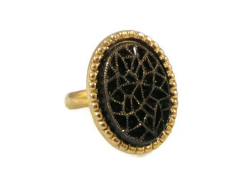 Black and Gold Ring, Adjustable Ring, Vintage Ring