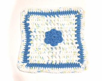 Happy Go Lucky And Hot Blue Flower Crocheted Square Dish Cloth