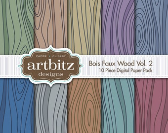"Bois, Vol. 2, 10 Piece Faux Wood Texture Digital Scrapbooking Paper Pack, 12""x12"", 300 dpi .jpg, Instant Download!"