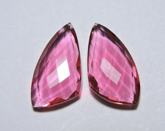 2 Pcs Very Attractive Rubilite Pink Quartz Faceted Fancy Shape Loose Gemstone Beads Size 25X14 MM