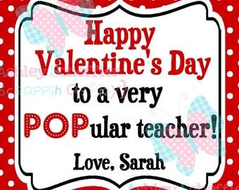 Valentine's Day Tag. POPular teacher. Teacher Valentine. Class Valentines. Printable Tag. PDF File.Personalized.Square Tag. Red