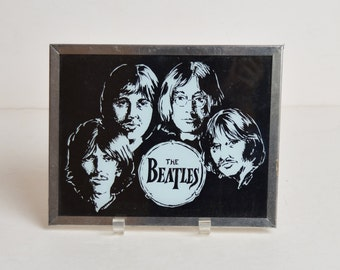 Vintage 70s The BEATLES Glass Picture Framed