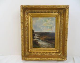 Antique Oil Painting English 19th Century Marsh Landscape Abraham Hulk II