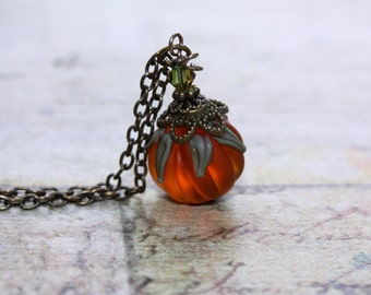 Pumpkin Necklace Halloween Necklace Harvest Jewelry Thanksgiving Necklace Jack O Lantern Fall Necklace Autumn Necklace Orange Necklace 002