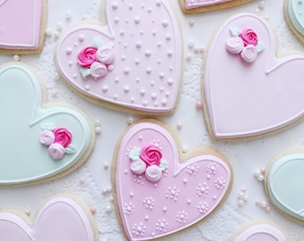 Pastel Heart Sugar Cookies