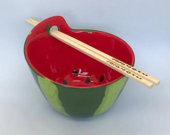 Watermelon Chopstick Bowl, Artisan Chopstick Bowl, Ramen Bowl, Salad Bowl, Watermelon Bowls, Noodle Bowl, Pho Bowl, Chopstick Bowls
