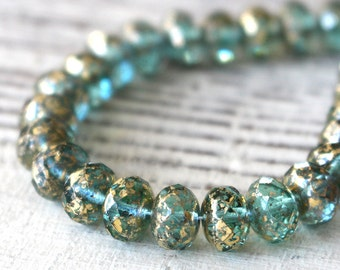 9x6mm Rondelle Beads - Czech Glass Beads For Jewelry Making Supplies - Green Aqua With  Antique Gold  Finish (10 or 25 bead strand) 6x9mm