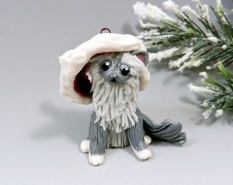 Birman Cat Christmas Ornament Figurine Santa Hat Porcelain Clearance