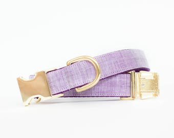 Lilac Watercolor Linen Dog Collar