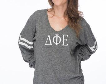Delta Phi Epsilon Varsity Slub Long Sleeve Tee, DPhiE shirt, D Phi E Sorority Tshirt, Sorority Apparel, Greek Gear, DeltaPhiEpsilon Gifts