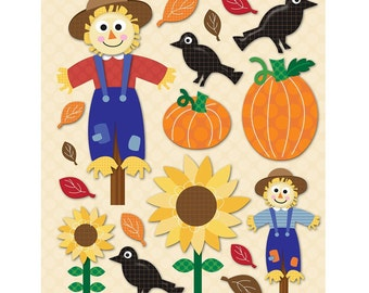 18 Scarecrow Stickers; Scrapbook Craft Party Favor Cards Card-Making Gift Tags Papercraft