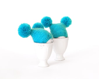 SALE 10% OFF Turquoise egg warmers with funny poms