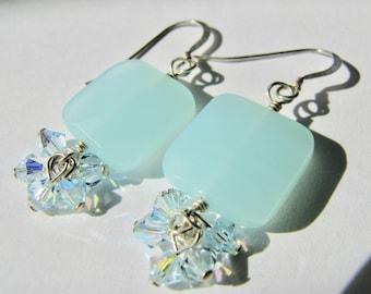 Light Blue Aqua Jade Earrings, Faceted Gemstone Earrings, Crystal AB Cluster Earrings, Sterling Silver Dangle Earrings, Summer Beach Brights