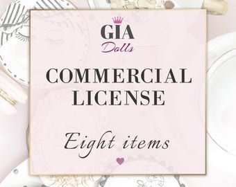 License for Commercial Use, No-Credit, for EIGHT Items, fashion Cliparts , Digital Paper Packs, Giadolls