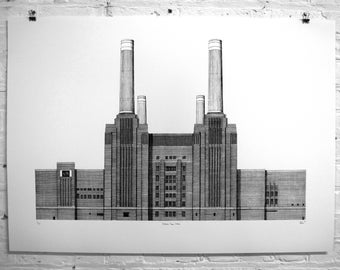Battersea Power Station, London. Limited edition architectural silkscreen print.