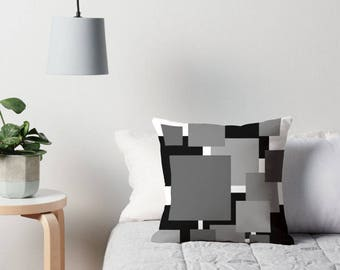 Black White Pillow, Black White Gray Pillow, Geometric Pillow, Geometric Toss Pillow, Gray Toss Pillow, Black White Geometric Pillow, Gray