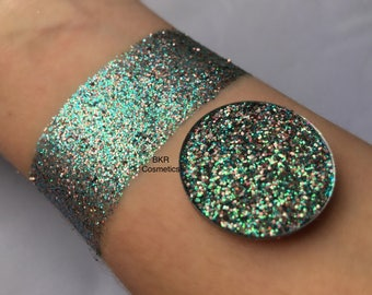 Holographic fairy dust pressed glitter eyeshadow, cosmetic grade glitter, glitter eyeshadow, glitter make up, loose glitter, blue, peach