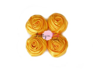 Yellow Satin TWISTED Rosettes- You Choose Quantity- Rolled Rosettes- Rolled Rosettes- PrettyinPinkSupply- DIY Supply Shop