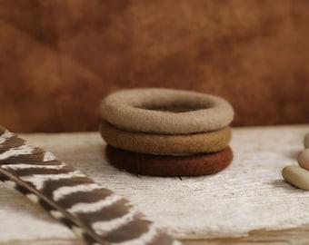 Felt Bangles Bracelets ( 3 ) Earthy Tones // Merino Wool Jewelry // Natural