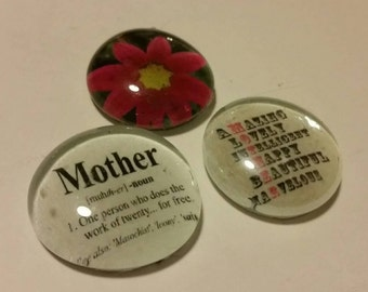 """Set of 3 """"Mom"""" Theme Magnets; Strong, Glass, Magnets; Mother's Day, Mother, Mom Refrigerator Magnets, Fridge Art; Kitchen Office Decor"""