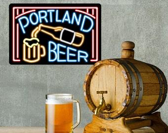 Portland Beer Neon Style Bar Wall Decal - #60708