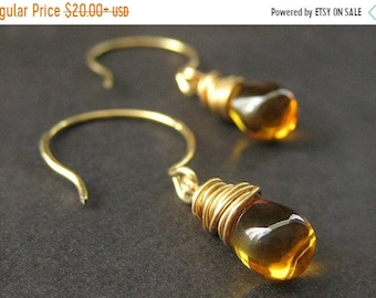 MOTHERS DAY SALE Wire Wrapped Earrings - Honey Amber Teardrops in Gold. Handmade Jewelry.