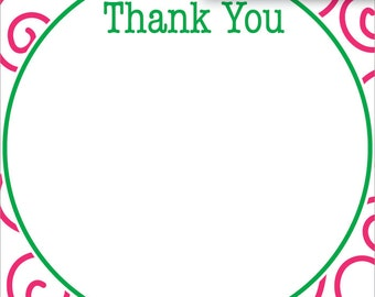 Pink & Green Girly Swirl | Thank You Stationery