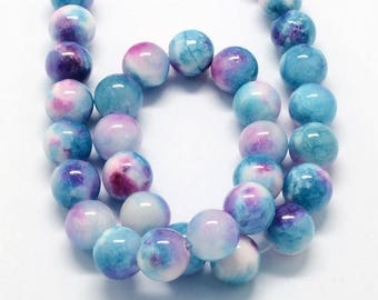 Blue and Pink Multicolor Jade Beads, 10mm Round- 15.5 Inch Strand - eMCJ-X19-10