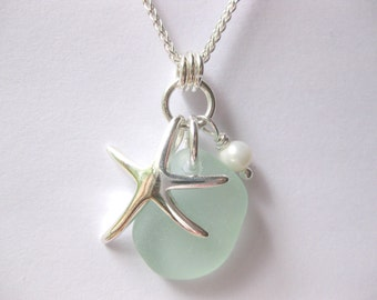 SS Starfish Sea foam  Seaglass pendant Sterling beach Glass necklace Beach Glass Jewelry