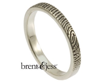 Narrow Fingerprint Handcrafted Wedding Ring with Tip Print on the Outside - Sterling Silver