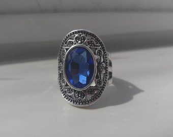 Marcasite Sapphire Stone Steel ring 8