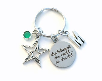 Achievement Gift for Job Promotion Keychain, New Career She believed she could so she did Key chain, Star keyring women for Girl Graduation