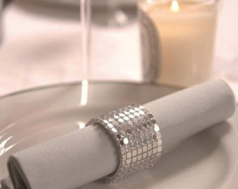 Set of 5 rhinestone silver for wedding and holiday napkin rings