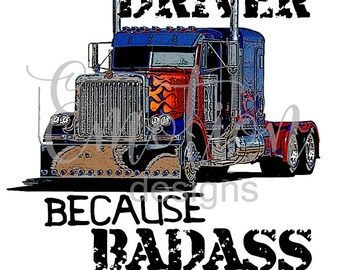 Truck Driver Badass Clipart, instant download
